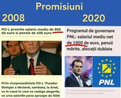 PNL, aceleași promisiuni, în 2020, ca și PDL, în 2008. Atunci au urmat tăieri de salarii și acordul cu FMI
