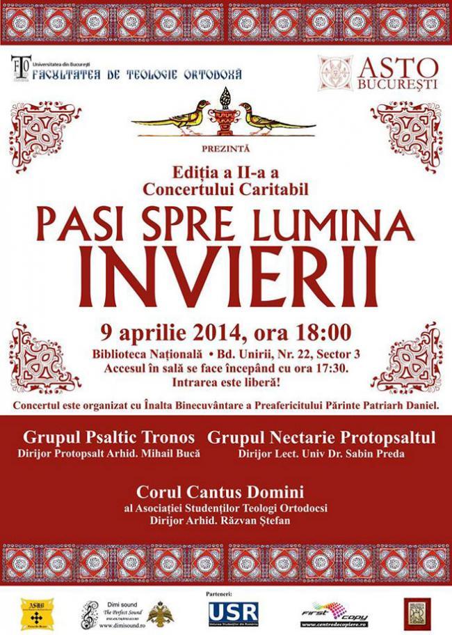 """""""Paşi spre lumina Învierii"""", concert caritabil pentru victimele violenţei domestice"""