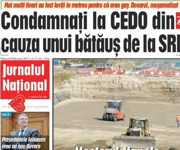 Jurnalul Național, 8 februarie: România, condamnată la CEDO din cauza unui bătăuş SRI