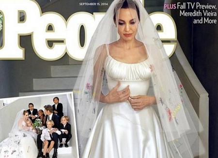 PRIMELE IMAGINI cu Angelina Jolie MIREASĂ! Rochia actriţei a fost decorată cu desene făcute de cei şase copii ai săi