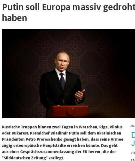 Sueddeutsche Zeitung: Putin ameninţă că în două zile ar putea invada Varşovia, Riga şi Bucureştiul