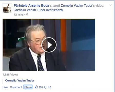 Cu Facebook, pe Facebook călcând... Părintele Arsenie Boca dă SHARE unui clip video al lui Corneliu Vadim Tudor