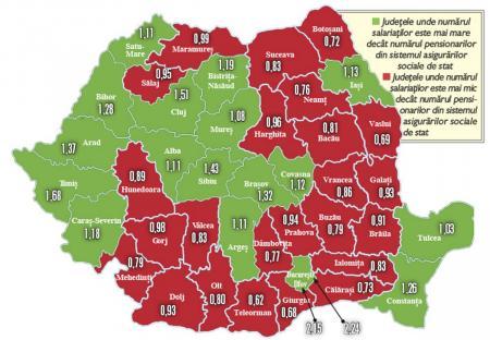 Harta Județelor Dominate De Pensionari