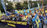 "VIDEO: Sindicaliștii de la ""Solidaritatea Sanitară"" protestează la Parlament"