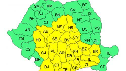 ANM: Cod galben de ger în 20 de judeţe şi Bucureşti, până sâmbătă dimineaţă