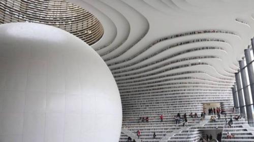 Fascinant! O biblicoteca din China cu o arhitectura ... inselatoare!