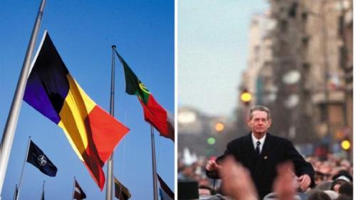 NATO a coborât în bernă drapelul României, în onoarea Majestăţii Sale