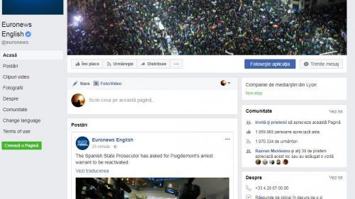 Euronews și-a pus la cover pe Facebook o fotografie de la protestele de sâmbătă