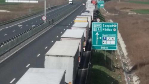 Șoferii de TIR-uri stau peste 10 ore la punctul de trecerea frontierei de la vama Nădlac