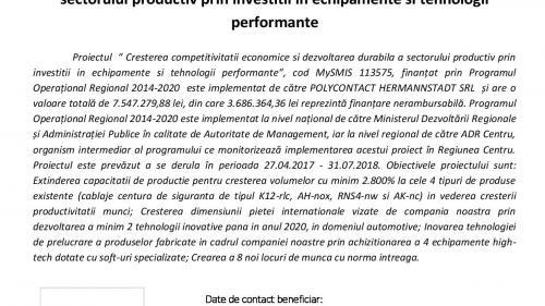ANUNȚ DE PRESĂîncepere proiect.Cresterea competitivitatii economice si dezvoltarea durabila a sectorului productiv prin investitii in echipamente si tehnologii performante
