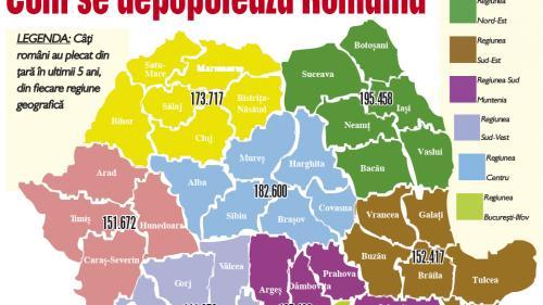 Harta Emigraţiei Pe Regiuni Cum Se Depopulează Romania
