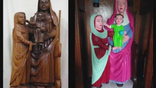 """O statuetă din secolul XV, """"restaurată"""" în culori electrice"""