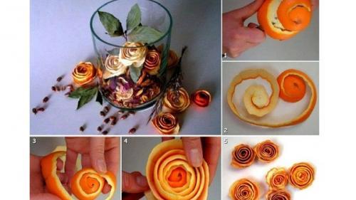 Trandafiri decorativi din coji de portocale
