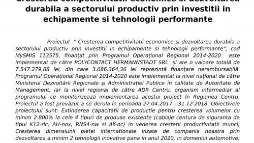 ANUNȚ DE PRESĂ  încheiere proiect. Cresterea competitivitatii economice si dezvoltarea durabila a sectorului productiv prin investitii in echipamente si tehnologii performante