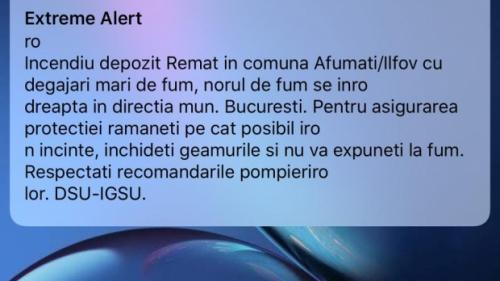 """Update - Autorităţile au trimis un mesaj RO-ALERT privind incendiul din apropierea Capitalei. """"Norul de fum se îndreaptă spre București"""""""