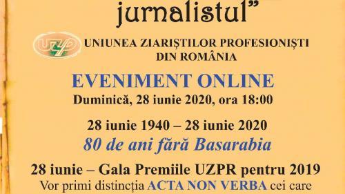 """Duminică, 28 iunie 2020 de la ora 18,00.GALA PREMIILOR UZPR pentru anul 2019.""""ACTA NON VERBA"""""""