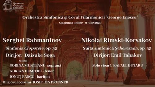 """Simfonia """"Clopotele"""" și Suita """"Şeherazada"""", în stagiunea online a Filarmonicii """"George Enescu"""""""