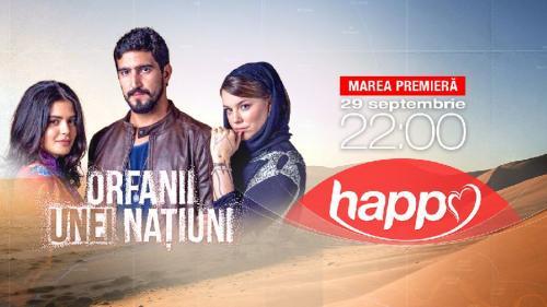 Începând din 29 septembrie, ora 22:00,Happy Channel difuzează producţia braziliană Orfanii unei naţiuni, câştigătoare a unui premiu Rose d'Or, dar şi Grand Prize la Seoul Drama Awards