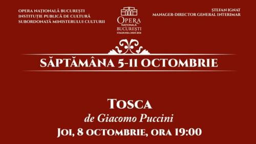 """Opera Națională București deschide Stagiunea 2020-2021 cu spectacolul """"Tosca"""""""