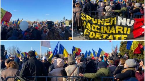 VIDEO: Val de proteste NAȚIONALE împotriva vaccinării: Mii de oameni au ieșit pe strazi în Capitală și în țară
