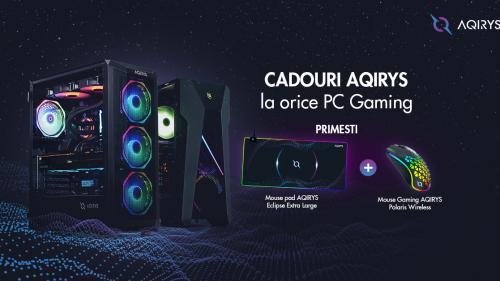 (P) PC Garage oferă doua cadouri AQIRYS la orice PC Gaming. Mousepad AQIRYS Exlipse Large și Mouse AQIRYS Polaris Wireless