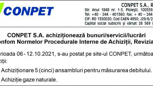 CONPET S.A. achiziționează bunuri/servicii/lucrări