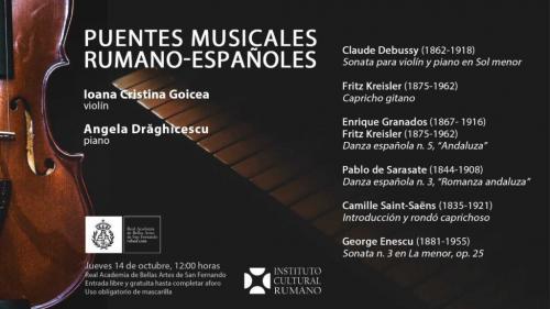 """MADRID. Concertul """"Punți muzicale româno-spaniole"""", pe scena Academiei Regale de Arte Frumoase San Fernando"""
